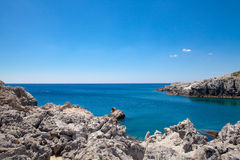 Beach off the coast of the island of Rhodes in Greece. Royalty Free Stock Photo