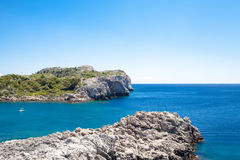 Beach off the coast of the island of Rhodes in Greece. Royalty Free Stock Image