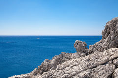 Beach off the coast of the island of Rhodes in Greece. Royalty Free Stock Photography