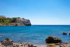 Beach off the coast of the island of Rhodes in Greece. Royalty Free Stock Images