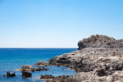Beach off the coast of the island of Rhodes in Greece. Royalty Free Stock Photos