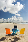 Beach Office 1. Outdoor Office with laptop Stock Photo
