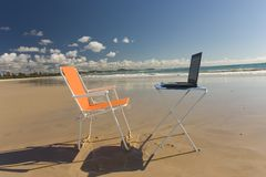 Beach Office. Outdoor Office with laptop Royalty Free Stock Images