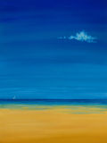 Beach Oil Painting. Original simple beach oil painting. For use as is or for background / design element stock photography