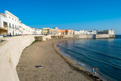 The beach and Old Town in Gallipoli Stock Photo