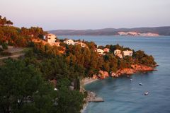 The beach in Omis, Croatia Royalty Free Stock Photography