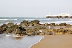 Beach in Oostende, Belgium Royalty Free Stock Photography