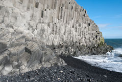 Beach of organ pipes. Beach of the organ pipes to Reynisfjara in Vik in Iceland Royalty Free Stock Images