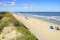 Beach on the Outer Banks. A view North along the beach from the top of the sand dunes, Corolla, North Carolina Royalty Free Stock Photos