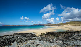 Beach in the Outer Hebrides. Turquoise waters lapping a sandy beach in the outer hebrides, Scotland royalty free stock photography
