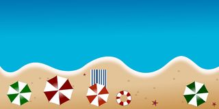 Beach overview. Beach illustration.view from the top Stock Image