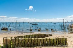 Arcachon Bay, France, beach and oyster farm. The beach and oyster farms of the village of LHerbe, a conservation area near the Cap Ferret Stock Photo