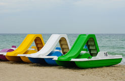 Beach paddle  boats, vacation fun details Royalty Free Stock Photography