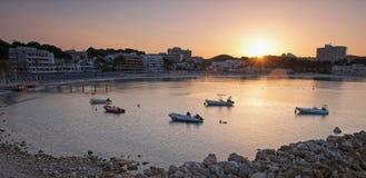 Beach of Paguera in Majorca at Sunset. Beach of Paguera in Majorca at Sunrise ( Balearic Islands, Spain stock photos
