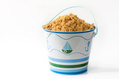 Beach pail. Child's beach pail full of sand Royalty Free Stock Photos