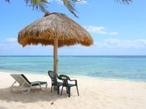 Beach palapa on the Caribbean coast Royalty Free Stock Photo