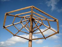 Beach palapa frame. Without palm leafs Stock Photos