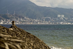 Beach palapa and tropical ocean resort town. Beach palapa and tropical  Mexican Pacific ocean resort town of Puerto Vallarta in background Stock Images