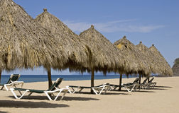 Beach palapas by the Mexican Pacific Ocean stock image
