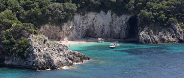 Beach in Paleokastritsa bay , Corfu , Greece Royalty Free Stock Photography