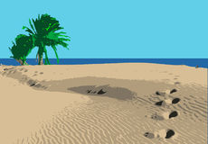 Beach with palm. Illustration of beach with palms Royalty Free Stock Images