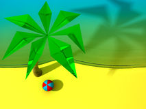 Beach with the palm and the ball. Top view. 3d render Stock Image
