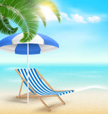 Beach with palm clouds sun umbrella and beach chair. Summer vaca. Beach with palm clouds sun beach umbrella and beach chair. Summer vacation background Stock Image