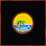 Beach with palm in the frame vector illustration Royalty Free Stock Photos