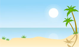 Beach and palm scenery vector flat Stock Images