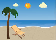Beach with palm and sunbed. Chaise lounge on the beach with palm trees royalty free illustration