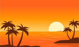 Beach with Palm at sunset landscape. Vector art Royalty Free Stock Photo