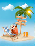 Beach with a palm tree, a direction sign and a beach stock illustration