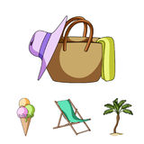 Beach, palm tree, ice cream.Summer vacation set collection icons in cartoon style vector symbol stock illustration web. Stock Images