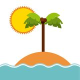 Beach and palm tree icon. Island design. Vector graphic. Summer and island concept represented by beach and palm tree icon. Colorfull and flat illustration Royalty Free Stock Photography