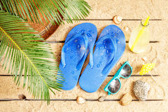 Beach, palm tree leaves, sand, sunglasses and flip flops Stock Photo