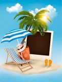 Beach with a palm tree, a photograph and a beach chair. Summer v Stock Photo