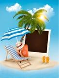 Beach with a palm tree, a photograph and a beach chair. Summer v Stock Photo