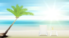Beach palm tree and sea. Eps10 vector royalty free illustration