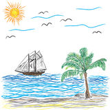 Beach with Palm Tree and ship, vector illustration Royalty Free Stock Photos