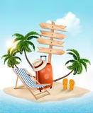 Beach with a palm tree, wooden sign and a beach chair. Summer va Stock Photography