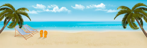 Beach with palm trees and beach chair. Summer vacation concept background. Vector Stock Photography