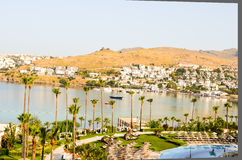 Beach with palm trees in Bodrum Royalty Free Stock Photos