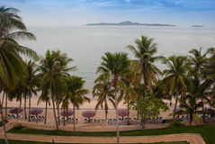 Beach with palm trees of luxury hotel. Pattaya, Thailand Royalty Free Stock Photos