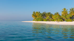 Beach with palm trees. Panorama of tropical island Beach with palm trees Stock Photo