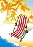 Beach, palm trees, sea, chair. Vector chair on the beach Stock Photography