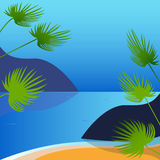 Beach and palm trees Royalty Free Stock Photography