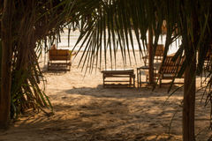 The Beach and Palm Trees at Sihanoukville, Cambodia Stock Images