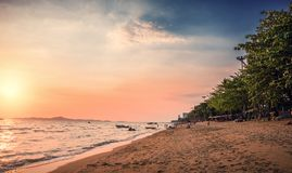 Beach with palm trees at sunset. Jomtien beach in Thailand. Beach with palm trees at sunset Royalty Free Stock Photography