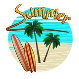 Beach with palm trees and surfboards with the inscription summer vector illustration