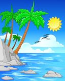 Beach with palm trees/tropical beach Royalty Free Stock Photography
